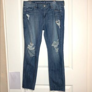 Articles of Society distressed torn raw hem jean